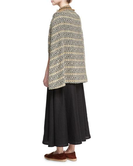High-Waist Linen Midi Skirt, Black