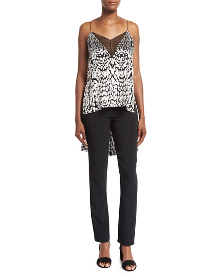 High-Low Illusion-V Cami Top, Black Pattern