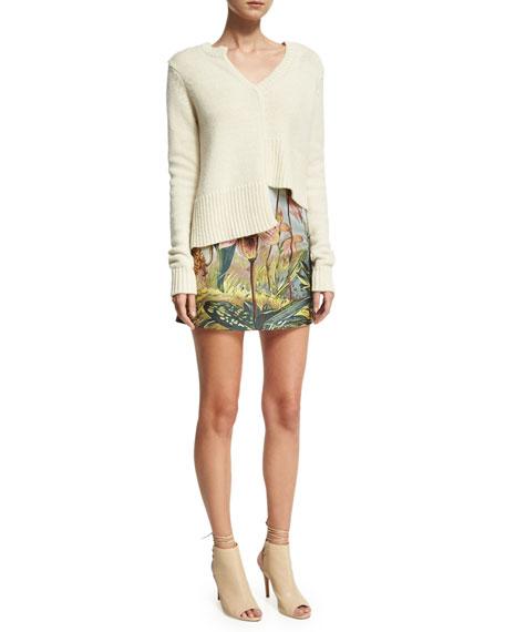 Offset-Knit V-Neck Sweater
