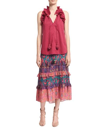 Fabiana Ruffled Cotton Top, Pink and Matching Items