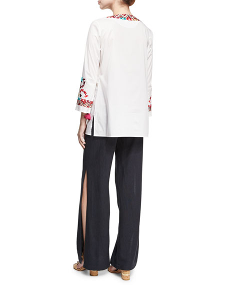 Lisbette Embroidered Tunic Top, White