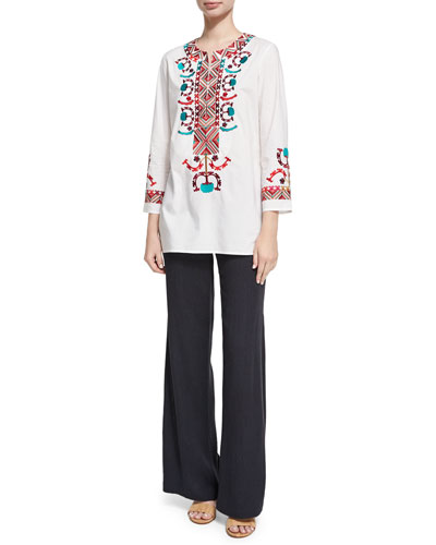 Chanda Embroidered Crepe Pants, Navy and Matching Items