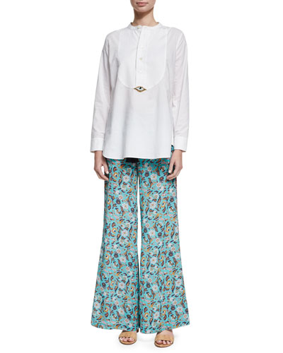 Estela Paisley-Print Silk Pants, Multi and Matching Items