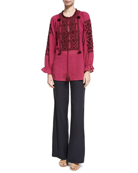 Lou Lou Embroidered Top, Red