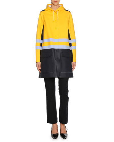 Colorblock Button-Front Raincoat and Matching Items