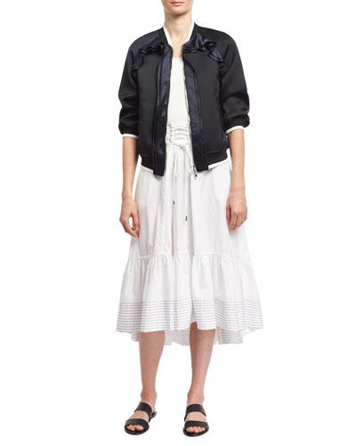 Victorian Waist Poplin Midi Skirt, White and Matching Items