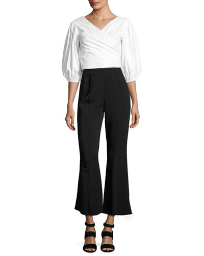Haven Three-Quarter Sleeve Wrap Top, White and Matching Items