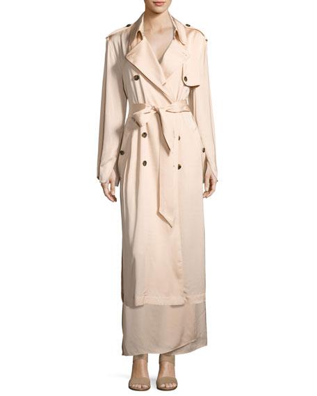 Almeria Wrap-Tie Maxi Skirt W/ Slit, Blush