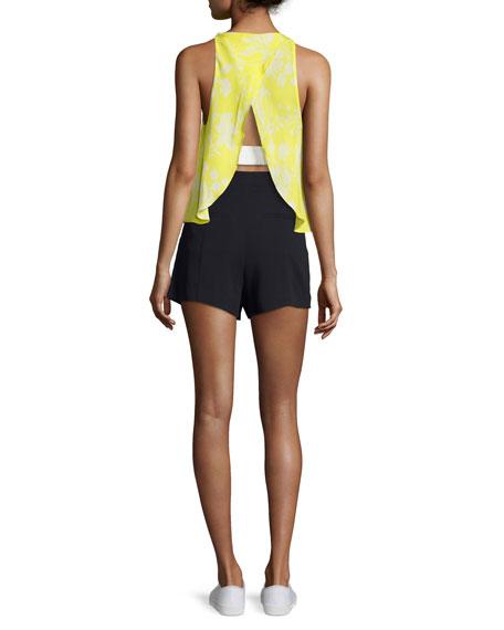 Jasper Silk Sleeveless Top, Yellow Pattern