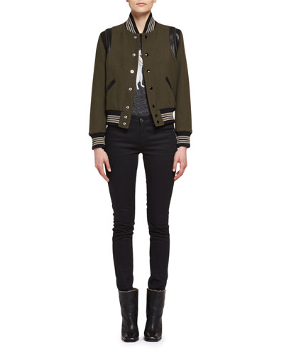 Teddy Varsity Bomber Jacket, Olive and Matching Items