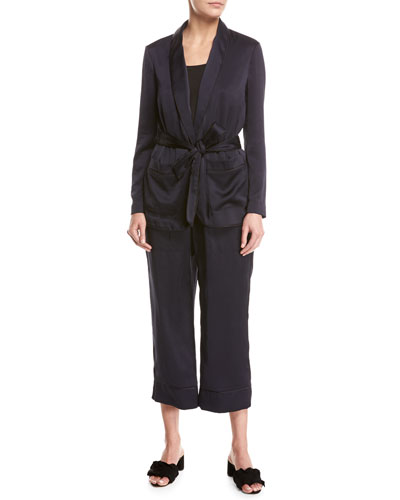 Anasophia Sateen Single-Button Jacket, Navy and Matching Items