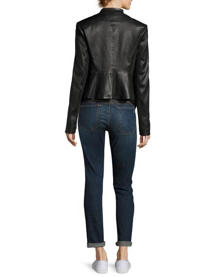 Peplum Jacket Leather Jacket, Black