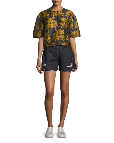 Thana Two-Tone Destroyed Denim Shorts, Black and Matching Items