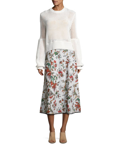 Fluid Floral-Print Midi Skirt, Multipattern and Matching Items