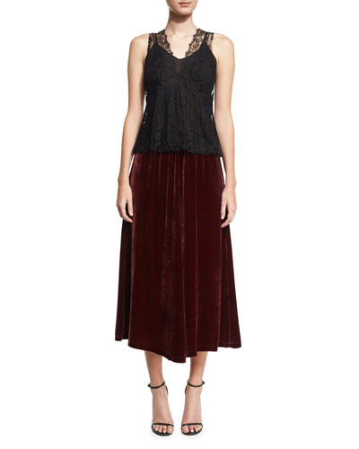 Velvet Fluid A-Line Skirt, Wine and Matching Items
