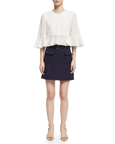 Cropped Frill Eyelet Top, White and Matching Items