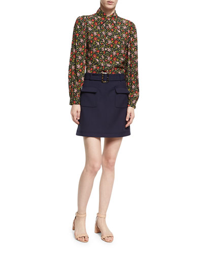 Patch Pocket Cotton Mini Skirt, Navy and Matching Items