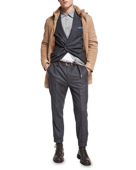 Flannel Wool-Silk-Cashmere Double-Breasted Two-Piece Suit, Charcoal