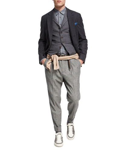 Glen Plaid Wool-Cashmere Leisure-Fit Pants and Matching Items