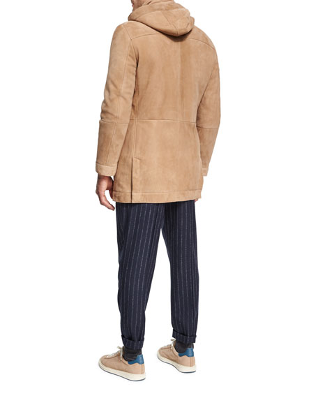 Suede & Shearling Hooded Coat