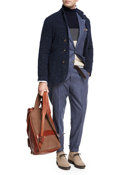 Donegal Wool-Silk Two-Piece Suit, Blue