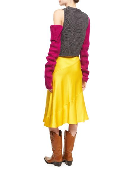 Knit Cold-Shoulder Colorblock Sweater