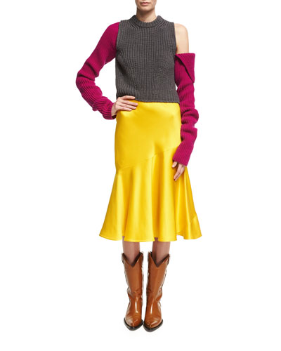 Knit Cold-Shoulder Colorblock Sweater and Matching Items