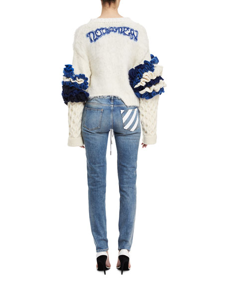 Bird-Embroidered Skinny Jeans
