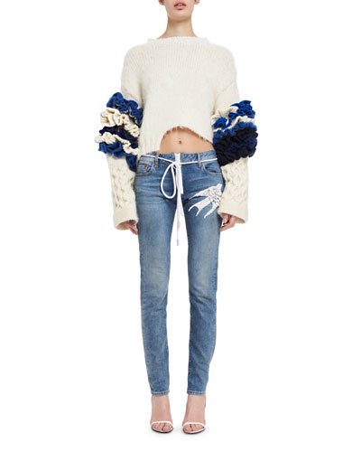 Bird-Embroidered Skinny Jeans and Matching Items