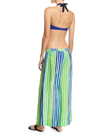 Banded Dotted Bikini Swim Top, Blue