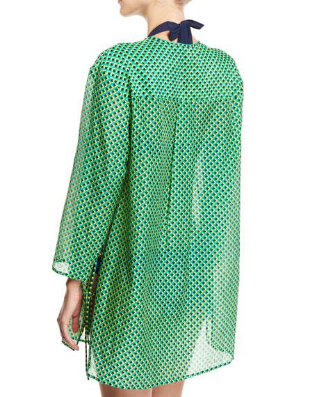 Long-Sleeve V-Neck Tied Mini Dress, Green