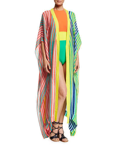 Halter-Neck One-Piece Swimsuit, Orange Yellow Green Multi and Matching Items