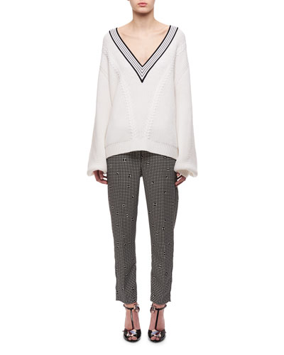 V-Neck Merino Wool Cable-Knit Sweater, White and Matching Items