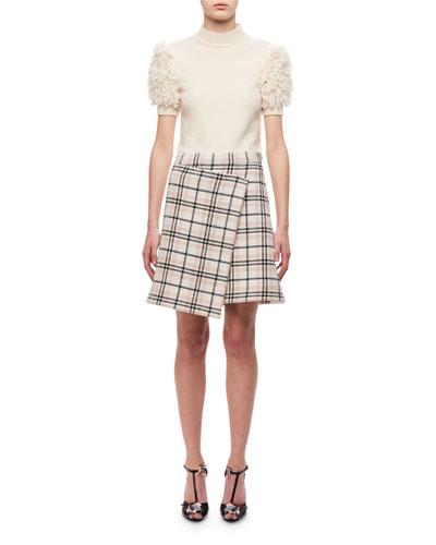 Plaid A-line Skirt W/ Asymmetric Hem, Multi Pattern and Matching Items