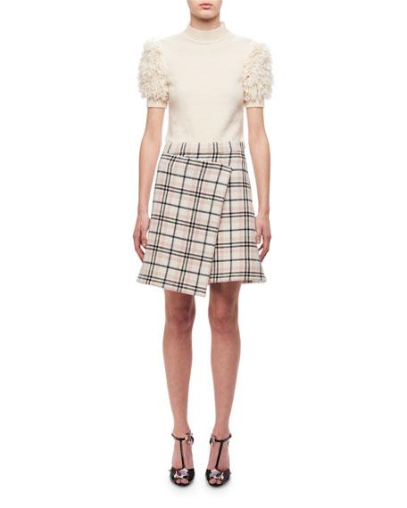 Plaid A-line Skirt W/ Asymmetric Hem