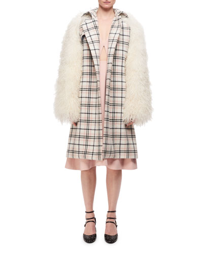Plaid Belted Top Coat W/ Fur Sleeves, Multi Pattern and Matching Items