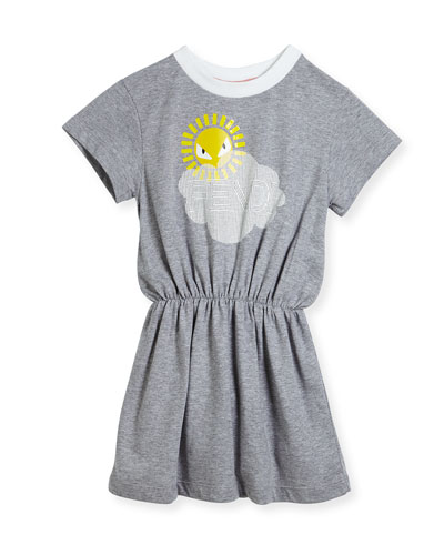 Short-Sleeve Logo Cloud Sun Graphic Dress, Size 3-5 and Matching Items
