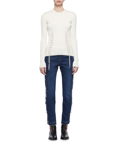Frayed Denim Ankle Jeans and Matching Items