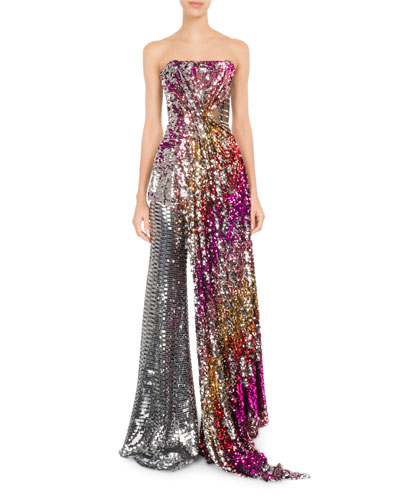 Strapless Sequined Bustier w/Draped Side and Matching Items