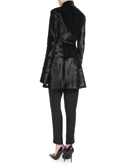 Hook-Front Calf Hair Coat Dress