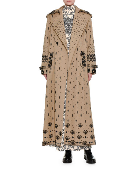 Beaded Gabardine Ankle-Length Trench Coat