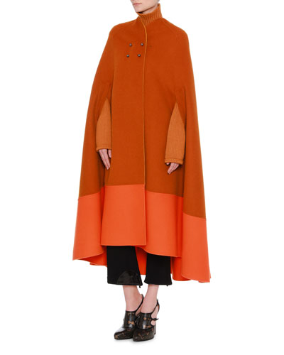 Reversible Colorblock Cashmere Cape  and Matching Items