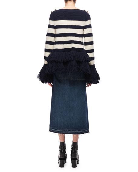 Striped Fringe-Hem Sweater