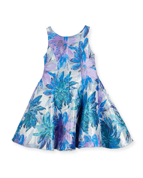 Blue Dahlia Metallic Floral Brocade Dress, Size 2-6X