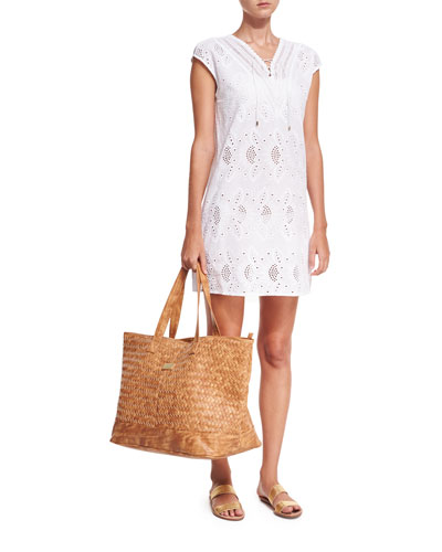 Broderie Cap-Sleeve Eyelet Coverup Dress and Matching Items