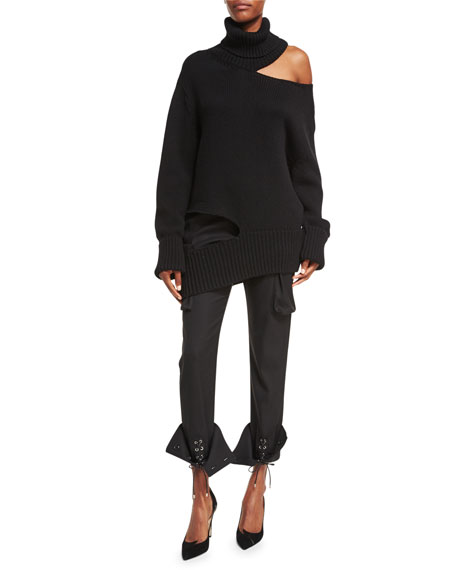 Grommet-Studded Slim-Leg Cargo Pants