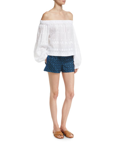 Geometric-Embroidered Linen Shorts and Matching Items