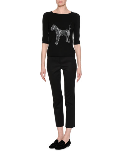 Dog-Embroidered 3/4-Sleeve Sweater and Matching Items