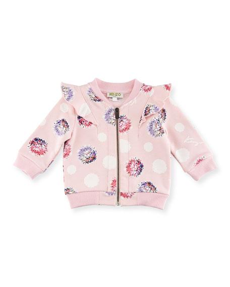 Floral Pompom Zip Jacket, Light Pink, Size 2-3Y