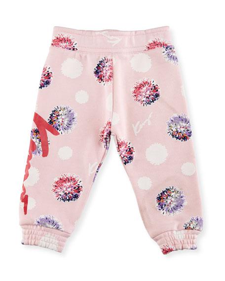 Allover Floral Sweatpants, Light Pink, Size 2-3Y